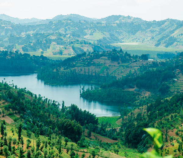 This is an image. On the image you can see a landscape in Rwanda and a lake.